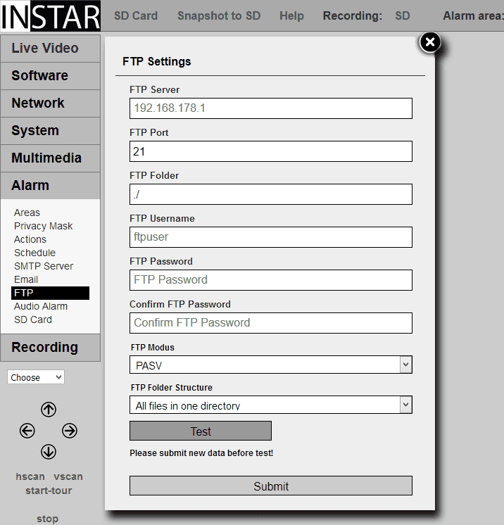 720p Web User Interface for your INSTAR IP Camera